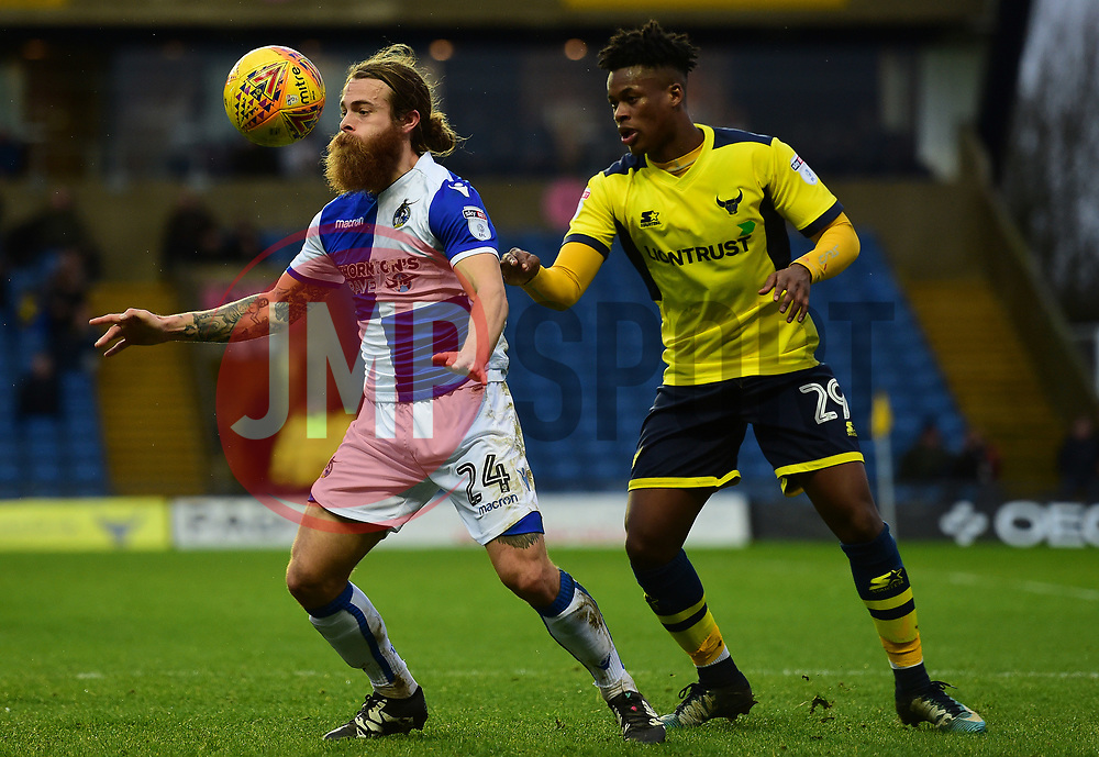 Stuart Sinclair of Bristol Rovers shields the ball from Ashley Smith-Brown of Oxford United - Mandatory by-line: Alex James/JMP - 10/02/2018 - FOOTBALL - Kassam Stadium - Oxford, England - Oxford United v Bristol Rovers - Sky Bet League One
