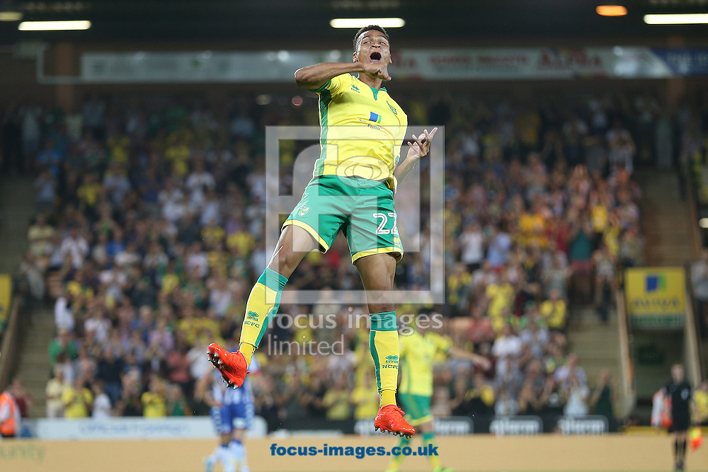Jacob Murphy of Norwich celebrates scoring his sides 2nd goal during the Sky Bet Championship match at Carrow Road, Norwich<br /> Picture by Paul Chesterton/Focus Images Ltd +44 7904 640267<br /> 13/09/2016