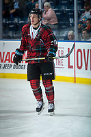 KELOWNA, CANADA - MARCH 10:  Conner Bruggen-Cate #20 of the Kelowna Rockets warms up against the Kamloops Blazers on March 10, 2018 at Prospera Place in Kelowna, British Columbia, Canada.  (Photo by Marissa Baecker/Shoot the Breeze)  *** Local Caption ***