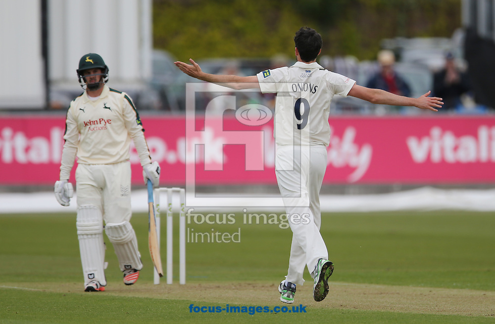 Graham Onions (r) of Durham celebrates the wicket of Steven Mullaney of Nottinghamshire during the LV County Championship Div One match at Emirates Durham ICG, Chester-le-Street<br /> Picture by Simon Moore/Focus Images Ltd 07807 671782<br /> 10/05/2015
