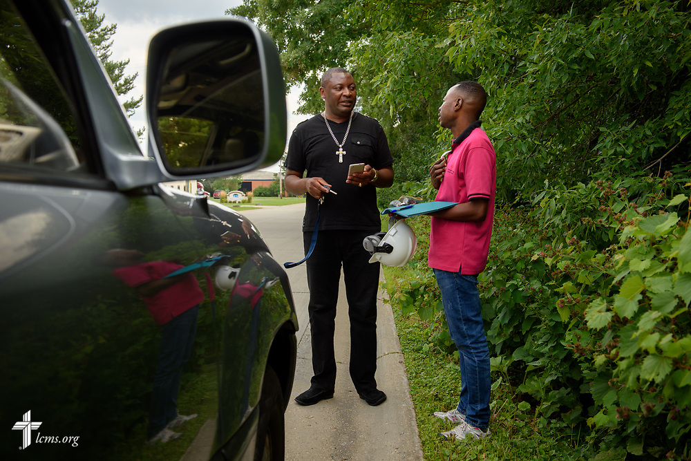 The Rev. Gui Kasongo Kabeo, pastor at Eglise Lutherienne Internationale de Sion (International Lutheran Church of Zion) and Gospel Lutheran Church, both in Milwaukee, Wis., picks up Pierre, a Congolese refugee, following work on Monday, Aug. 14, 2017 in Milwaukee. LCMS Communications/Erik M. Lunsford