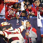 Landon Donovan, USA, with fans after his farewell match during the USA Vs Ecuador International match at Rentschler Field, Hartford, Connecticut. USA. 10th October 2014. Photo Tim Clayton