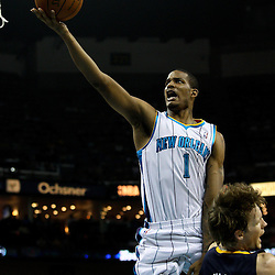 April 3, 2011; New Orleans, LA, USA; New Orleans Hornets small forward Trevor Ariza (1) shoots and draws a foul from Indiana Pacers small forward Mike Dunleavy (17) during the second quarter at the New Orleans Arena.    Mandatory Credit: Derick E. Hingle