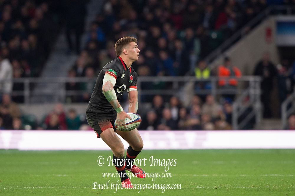Twickenham, Surrey United Kingdom. Henry SLADE, during the England vs Argentina. Autumn International, Old Mutual Wealth series. RFU. Twickenham Stadium, England. <br /> <br /> Saturday  11.11.17.    <br /> <br /> [Mandatory Credit Peter SPURRIER/Intersport Images]