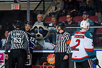 KELOWNA, CANADA - JANUARY 25:  Tanner Sidaway #22 of the Victoria Royals gets in the face of Lassi Thomson #2 of the Kelowna Rockets as Rocky Raccoon, the mascot, mocks from behind the glass on January 25, 2019 at Prospera Place in Kelowna, British Columbia, Canada.  (Photo by Marissa Baecker/Shoot the Breeze)