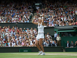 LONDON, ENGLAND - Saturday, July 2, 2011: Petra Kvitova (CZE) celebrates after winning the Ladies' Singles Final on day twelve of the Wimbledon Lawn Tennis Championships at the All England Lawn Tennis and Croquet Club. (Pic by David Rawcliffe/Propaganda)