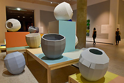 """© Licensed to London News Pictures. 27/06/2017. London, UK. """"Colour Catchers"""", 2017.  Preview of """"Breathing Colour"""", an exhibition by acclaimed designer Hella Jongerius, at the Design Museum, Kensington which comprises a series of newly commissioned installations exploring humans perceptions and connections to colour.  The exhibition runs from 28 June to 24 September 2017.  Photo credit : Stephen Chung/LNP"""