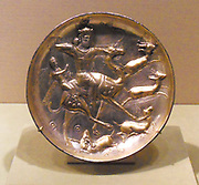 Plate with a hunting scene from the tale of Bahram Gur and Azadeh. Sasanian (Iran, Persia), ca. 5th century A.D. Silver, mercury gilding