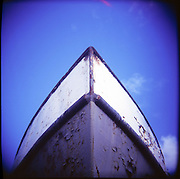 """The bow of the fishing vessel """"Skipper,"""" now drydocked in Gills Rock, Wisconsin."""