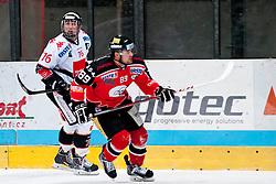 28.09.2013, Zimni Stadion, Zneim, CZE, EBEL, HC Orli Znojmo vs HC TWK Innsbruck, 12. Runde, im Bild Jan Lattner (Znojmo #89) Christoph Echtler (Innsbruck #16) // during the Erste Bank Icehockey League 12th round match betweeen HC Orli Znojmo and HC TWK Innsbruck  at the Zimni Stadium, Znojmo, Czech Republic on 2013/09/28. EXPA Pictures © 2013, PhotoCredit: EXPA/ Rostislav Pfeffer