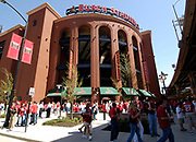 Fans wait to enter the new Busch Stadium in St. Louis for the inaugural game at the new ball park Aprial 10, 2006 The St. Louis Cardinals were hosting the Milwaukee Brewers. REUTERS/Tim Parker
