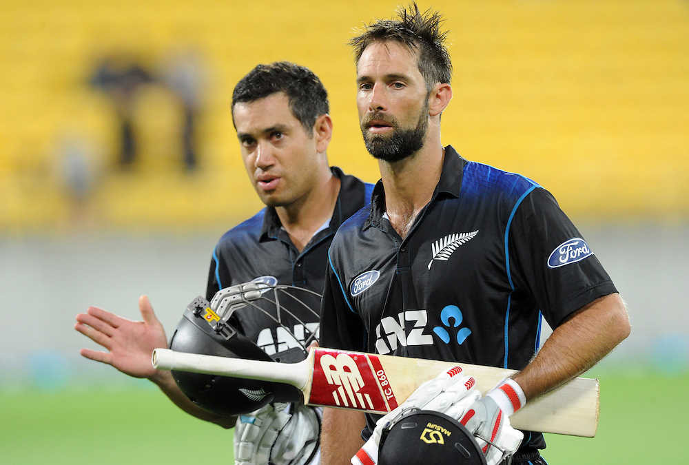 New Zealand's Ross Taylor, left and Grant Elliott walk off after their teams win over Pakistan in the 1st One Day International cricket match at Westpac Stadium, New Zealand, Saturday, January 31, 2015. Credit:SNPA / Ross Setford