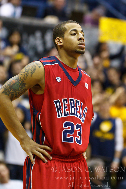 March 16, 2011; Berkeley, CA, USA;  Mississippi Rebels guard Trevor Gaskins (23) before a free throw against the California Golden Bears during the second half of the first round of the National Invitation Tournament at Haas Pavilion.  California defeated Mississippi 77-74.