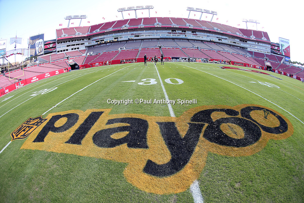 Raymond James Stadium sits empty as an NFL Play 60 logo is painted on the grass for the Tampa Bay Buccaneers 2015 week 14 regular season NFL football game against the New Orleans Saints on Sunday, Dec. 13, 2015 in Tampa, Fla. The Saints won the game 24-17. (©Paul Anthony Spinelli)