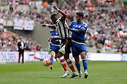 Grimsby Town striker Omar Bogle battles  during the FA Trophy match between Grimsby Town FC and Halifax Town at Wembley Stadium, London, England on 22 May 2016. Photo by Dennis Goodwin.