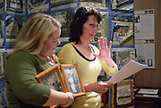 Cindi DiVittori was overcome by emotion as she spoke abut her family to the point that Brandi Lucier helped read part of the speech. They were participating at the Quilt Project opening and reception at Francois Baby House that was part of MayWorks Windsor 2014.