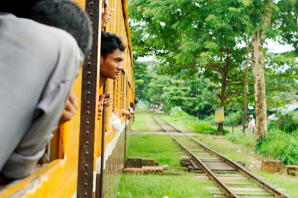 Train moving at Yangon's suburbs