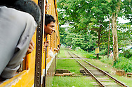 Train moving at Yangon's suburbs