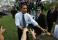 Edinburg, TX - 22 Feb 2008 -.Sen. Barack Obama shakes hands with audience members as he prepares to take the stage at his campaign rally held at UTPA on Friday morning.