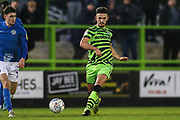 Forest Green Rovers Liam Shephard(2) passes the ball forward during the EFL Sky Bet League 2 match between Forest Green Rovers and Macclesfield Town at the New Lawn, Forest Green, United Kingdom on 29 December 2019.