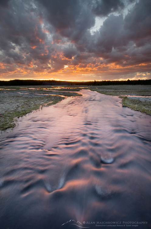 Stream at sunset near Firehole Lake, Yellowstone National Park Wyoming