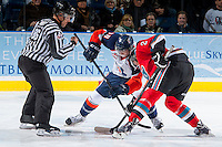 KELOWNA, CANADA - NOVEMBER 30:  Joe Kornelsen #10 of the Kamloops Blazers faces off against Ryan Olsen #27 of the Kelowna Rockets on November 30, 2013 at Prospera Place in Kelowna, British Columbia, Canada.   (Photo by Marissa Baecker/Shoot the Breeze)  ***  Local Caption  ***