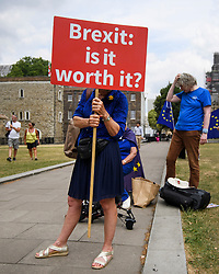 © Licensed to London News Pictures. 09/07/2018. London, UK. Ant-Brexit, pro EU campaigners are seen demonstrating in Westminster following  the resignation of former Brexit Secretary David Davis. Photo credit: Ben Cawthra/LNP