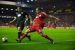 LIVERPOOL, ENGLAND - Thursday, April 29, 2010: Liverpool's Nabil El Zhar in action against Club Atletico de Madrid during the UEFA Europa League Semi-Final 2nd Leg match at Anfield. (Photo by: David Rawcliffe/Propaganda)League