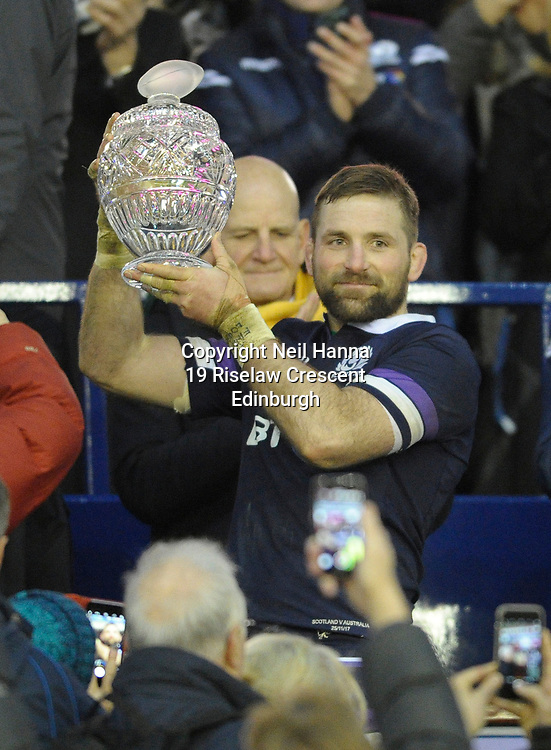 No Sales, Syndication or Archive <br /> <br /> Autumn Tests<br /> Scotland v Australia Saturday 25th November 2017, BT Murrayfield, Edinburgh.<br /> <br /> John Barclay of Scotland holds the Hopetoun Cup aloft after the 53-24 win against Australia.<br /> <br /> <br /> <br />  Neil Hanna Photography<br /> www.neilhannaphotography.co.uk<br /> 07702 246823