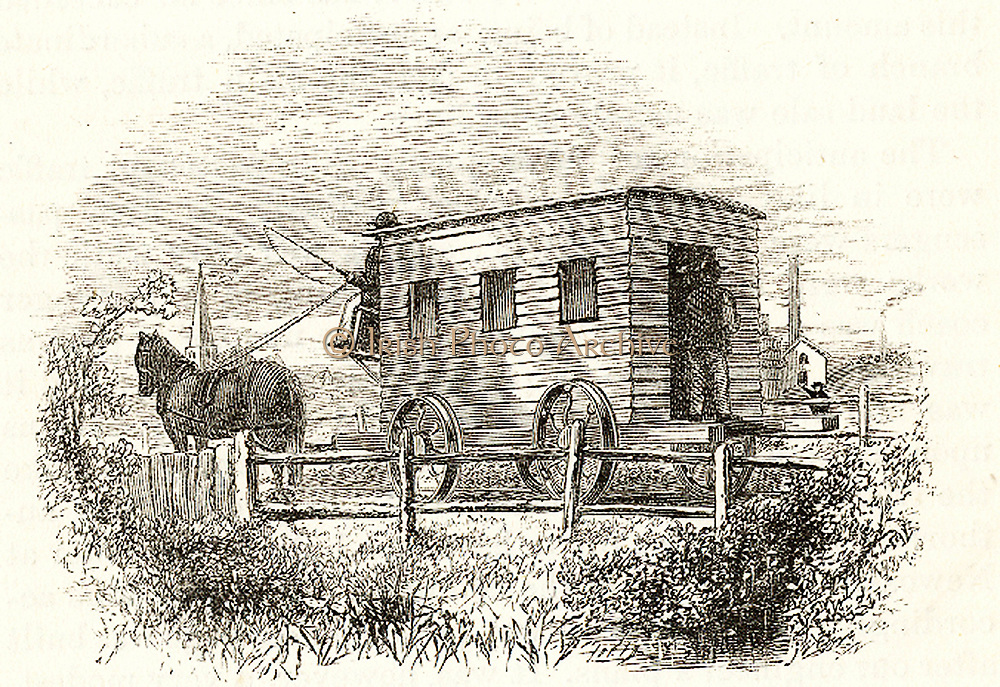 Experiment', the first passenger railway carriage, built by George Stephenson for the Stockton and Darlington line in 1825. Passengers entered from the back. From Samuel Smiles 'The Story of the Life of George Stephenson', London, 1859.