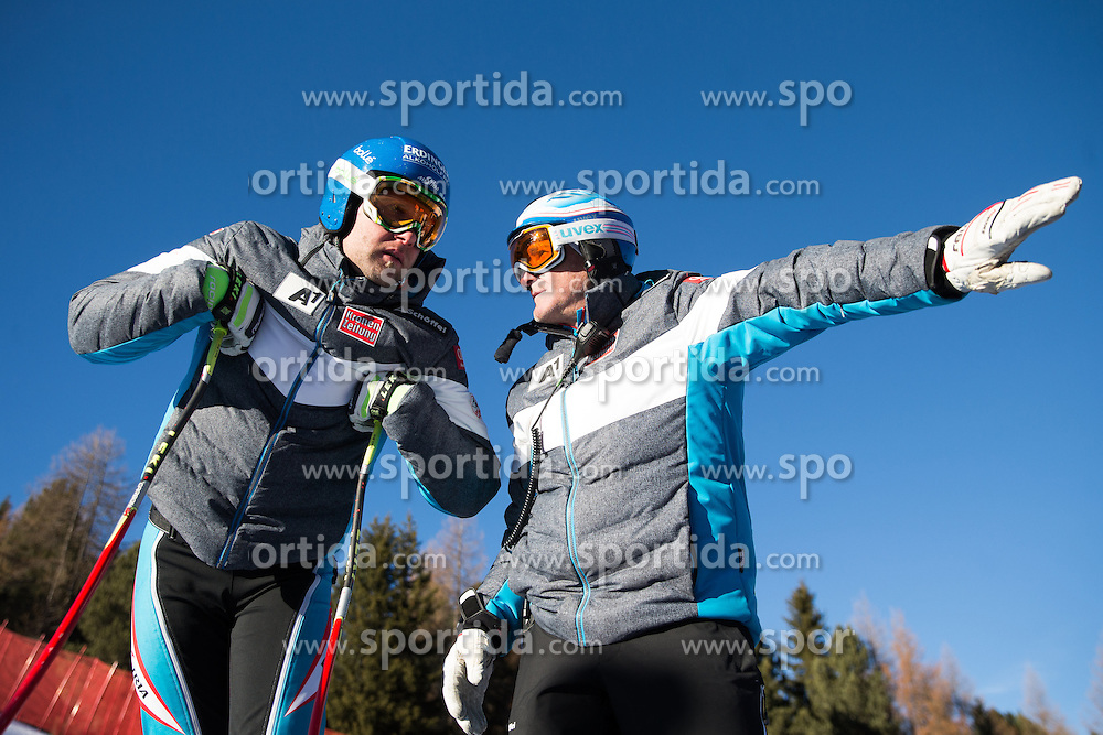 26.12.2015, Deborah Compagnoni Rennstrecke, Santa Caterina, ITA, FIS Ski Weltcup, Santa Caterina, Abfahrt, Herren, 1. Training, Streckenbesichtigung, im Bild Sportlicher Leiter ÖSV Herren- Alpin Andreas Puelacher // Romed Baumann of Austria ( L ) and OeSV men' s headcoach Andreas Puelacher ( R )  during the course inspection of 1st practice run of men's Downhill of the Santa Caterina FIS Ski Alpine World Cup at the Deborah Compagnoni Course in Santa Caterina, Italy on 2015/12/26. EXPA Pictures © 2015, PhotoCredit: EXPA/ Johann Groder
