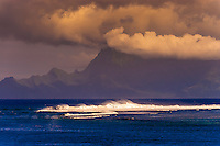 Looking from Tahiti to the island of Moorea, French Polynesia.