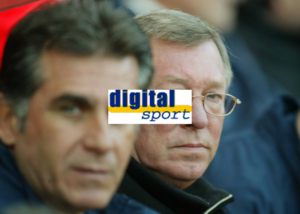 Photo: Chris Ratcliffe.<br />Charlton Athletic v Manchester United. The Barclays Premiership. 19/11/2005.<br />Sir Alex Ferguson (R) watches Carlos Quieroz and wonders how much his row with Roy Keane influenced his departure