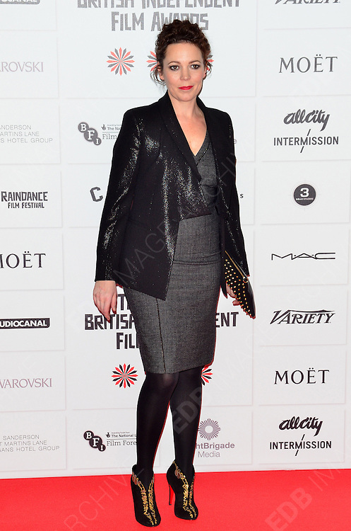 09.DECEMBER.2012. LONDON<br /> <br /> OLIVIA COLMAN ATTENDS THE BRITISH INDEPENDENT FILM AWARDS AT OLD BILLINGSGATE MARKET. <br /> <br /> BYLINE: JOE ALVAREZ/EDBIMAGEARCHIVE.CO.UK<br /> <br /> *THIS IMAGE IS STRICTLY FOR UK NEWSPAPERS AND MAGAZINES ONLY*<br /> *FOR WORLD WIDE SALES AND WEB USE PLEASE CONTACT EDBIMAGEARCHIVE - 0208 954 5968*