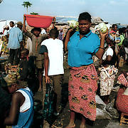 Kuito, Angola                                       September, 2002<br /> <br /> Kuito's central market, which was abandoned during much of the 27-year civil war, has reopened. Photo by Lori Waselchuk/South Photographs