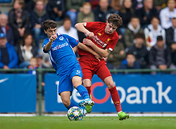 GENK, BELGIUM - Wednesday, October 23, 2019: Liverpool's Neco Williams (R) and KRC Genk's Siebe Vandermeulen during the UEFA Youth League Group E match between KRC Genk Under-19's and Liverpool FC Under-19's at the KRC Genk Arena Stadium B. (Pic by David Rawcliffe/Propaganda)