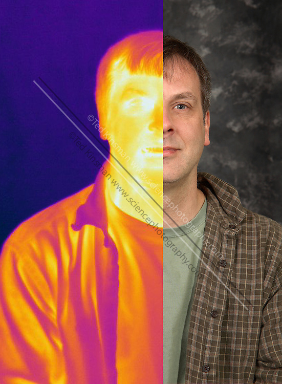 Combination thermogram-visible light image of a man.  This image is made from two images:  A normal visible light image and a far infrared image.  The different colors represent different temperatures on the object. The lightest colors are the hottest temperatures, while the darker colors represent a cooler temperature.  Thermography uses special cameras that can detect light in the far-infrared range of the electromagnetic spectrum (900?14,000 nanometers or 0.9?14 µm) and creates an  image of the objects temperature.
