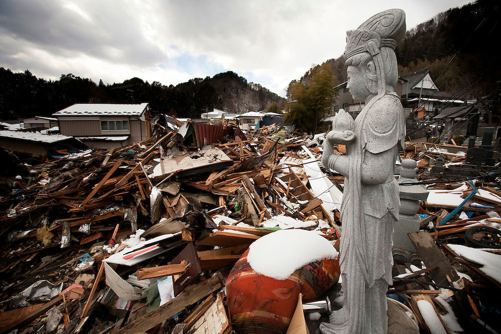 Tsunami damage is visible in a residential area of Taro, Japan after the earthquake and tsunami hit the city on 11 March 2011.