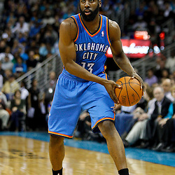January 24,  2011; New Orleans, LA, USA; Oklahoma City Thunder guard James Harden (13) against the New Orleans Hornets during the second half at the New Orleans Arena. The Hornets defeated the Thunder 91-89. Mandatory Credit: Derick E. Hingle