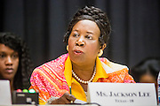 21 MAY 2012 - PHOENIX, AZ:     CONGRESSWOMAN SHEILA JACKSON LEE (D- TX 18) at the US House of Representatives Committee on Homeland Security, Subcommittee on Border and Maritime Security meeting Monday in Phoenix to talk about ways to improve information-sharing among government law enforcement agencies to thwart the flow of illicit drugs from Mexico into Arizona. Republican Congressman Paul Gosar and Ben Quayle, both from Arizona, and Democratic Congresswoman Sheila Jackson Lee, from Texas, attended the meeting.          PHOTO BY JACK KURTZ