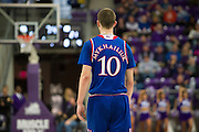 FORT WORTH, TX - FEBRUARY 6: Sviatoslav Mykhailiuk #10 of the Kansas Jayhawks looks on against the TCU Horned Frogs on February 6, 2016 at the Ed and Rae Schollmaier Arena in Fort Worth, Texas.  (Photo by Cooper Neill/Getty Images) *** Local Caption *** Sviatoslav Mykhailiuk
