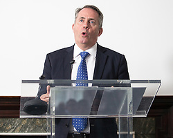 © Licensed to London News Pictures . 04/07/2016 . London , UK . Conservative Party leadership contender LIAM FOX delivers a speech setting out his campaign policies , at The Ideas Space in Westminster . Fox is standing for the leadership of the Conservative Party following David Cameron's resignation . Photo credit : Joel Goodman/LNP