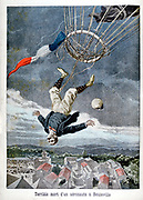 A French aeronaut falling to his death from a balloon over Beuzeville, France. From 'Le Petit Journal' 30 June 1899. Aeronautics Aviation Accident Ballooning