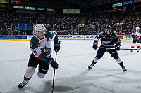 KELOWNA, CANADA - FEBRUARY 2: Connor Zary #18 of the Kamloops Blazers skates to check Kaedan Korczak #6 of the Kelowna Rockets during second period on February 2, 2019 at Prospera Place in Kelowna, British Columbia, Canada.  (Photo by Marissa Baecker/Shoot the Breeze)