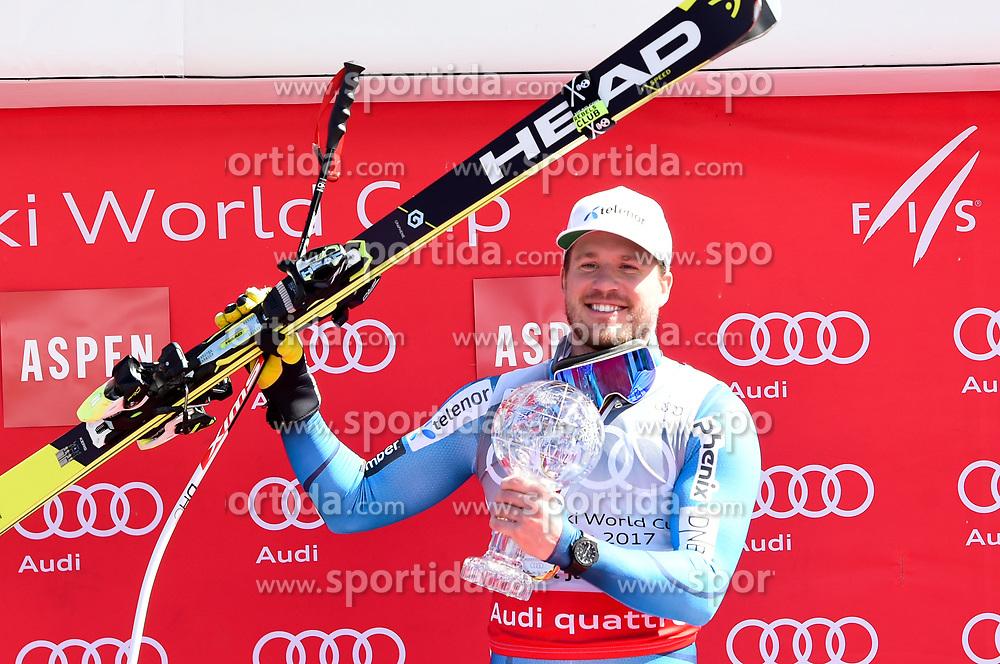 16.03.2017, Aspen, USA, FIS Weltcup Ski Alpin, Finale 2017, SuperG, Herren, Siegerehrung, im Bild Kjetil Jansrud (NOR, Sieger Super G Weltcup) // Winner of the Super G World Cup Kjetil Jansrud of Norway during the winner award ceremony for the men's Super-G of 2017 FIS ski alpine world cup finals. Aspen, United Staates on 2017/03/16. EXPA Pictures © 2017, PhotoCredit: EXPA/ Erich Spiess