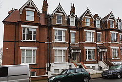 The building, second from left, at 14 Willoughby Road, just off Hampstead High Street in North London where a flat measuring 8ft 4in X 8ft 2in has gone on the market. Hampstead, London, January 25 2019.