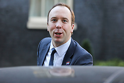 © Licensed to London News Pictures. 08/01/2019. London, UK. Matthew Hancock - Secretary of State for Health and Social care departs from No 10 Downing Street after attending the weekly Cabinet Meeting. Photo credit: Dinendra Haria/LNP