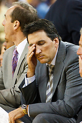 October 29, 2010; Oakland, CA, USA;  Los Angeles Clippers head coach Vinny Del Negro holds his head on the bench during the fourth quarter against the Golden State Warriors at Oracle Arena. The Warriors defeated the Clippers 109-91.