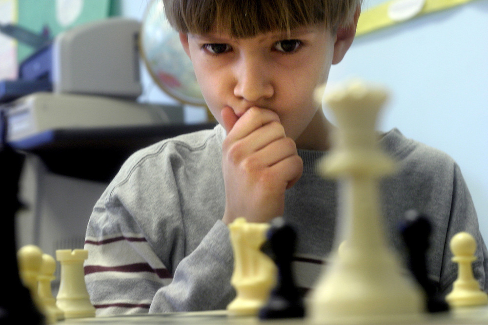 4th graders at Oyster Bilingual Elementary School in Washington D.C. take a chess class once a week.