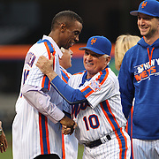 NEW YORK, NEW YORK - May 28: Terry Collins shakes hands with Dwight Gooden during the anniversary celebration of the 1986 World Championship team before the Los Angeles Dodgers Vs New York Mets regular season MLB game at Citi Field on May 28, 2016 in New York City. (Photo by Tim Clayton/Corbis via Getty Images)